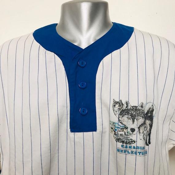 Vintage baseball top,baseball shirt,cotton twill.husky dog,1980s menswear,striped top,80s,shirt,medium,50s style,unisex,vintage menswear,90s