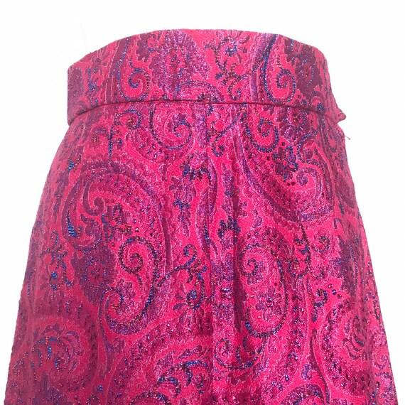 1960s skirt, 1970s maxi skirt, jewel tone,hot pink, long,glamour disco boho festival A line flare UK 10 12,high waist,pink skirt.