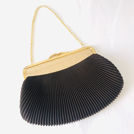 Vintage evening bag, brown and gold bag,sparkly purse, 1950s bag, pleated, wedding, bridal, small bag, gold chain bag disco 60s 50s