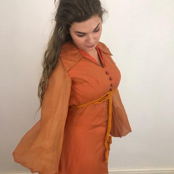 1970s dress, maxi dress, balloon sleeves, babydoll dress, orange chiffon, vintage dress, burnt orange, empire line, UK 8, hippie, boho, GoGo