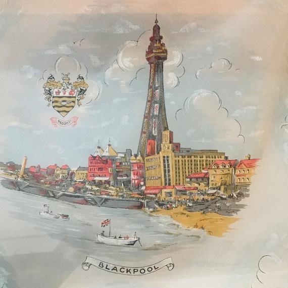 Vintage scarf, souvenir scarf,Blackpool,nylon scarf,square scarf,landmarks,1940s scarf,40s scarf,1930s scarf,Blackpool Tower
