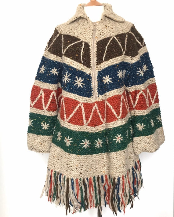 Vintage knitting, cape, handmade, poncho, cardigan, wool,coatigan,navajo,tassels,Rowan wool,hand knitted jacket,UK 16,plus size,one size