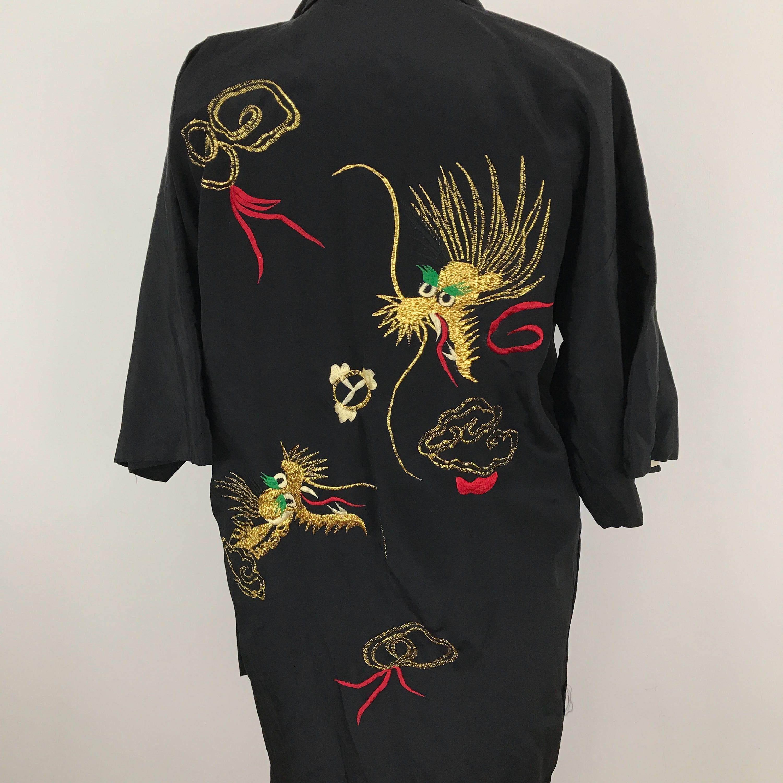 Vintage silk rayon kimono gown embroidery gold dragon robe short ...