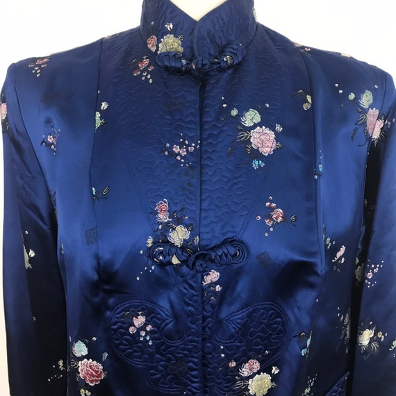 Vintage chinese silk jacket, long line jacket, royal blue, chrysanthymum, 3/4 length, long sleeves, oriental, classic, UK 14, evening, 1950s