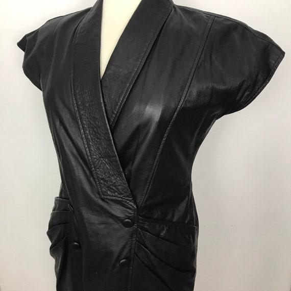 Vintage leather dress, 1980s leather, black leather, fetish, S&M, dominatrix, power dress, trashy 80s, pencil skirt, UK 14, vintage Aristos