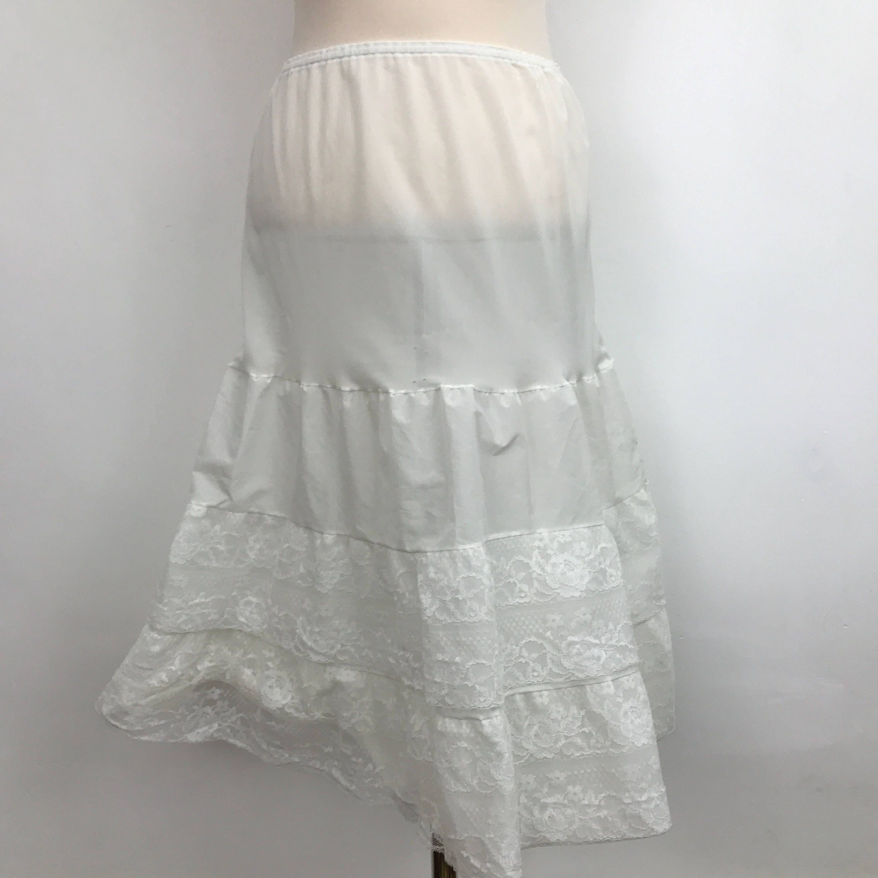 b01308a92548 vintage lacy half slip frilly nylon 1960s 1950s off white deep lace frill  ...