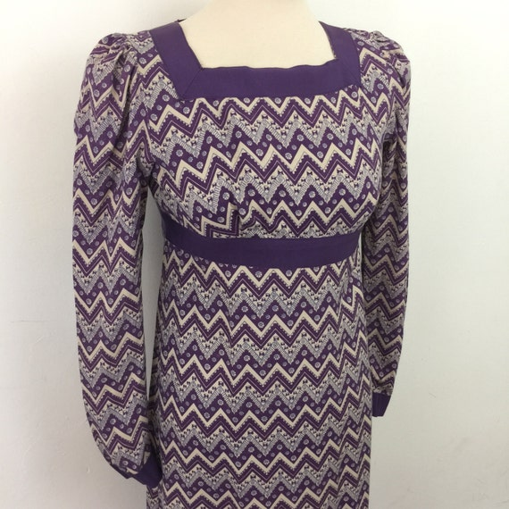 Vintage Jean Varon dress purple zig zag rayon crepe empire line John Bates folk boho 1970s UK 8 maxi dress