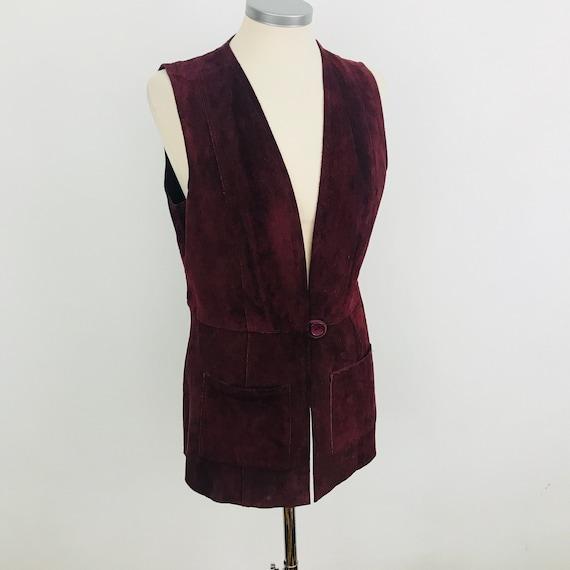 Suede waistcoat, vintage suede vest, dark red suede leather, longline, 1970s waist coat, 70s,hippie, boho, button, UK 10, festival,