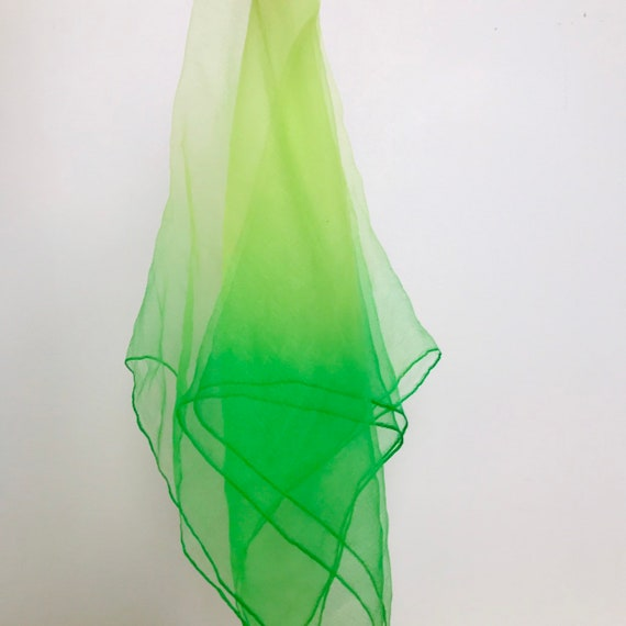 1950s chiffon scarf square sheer green ombre lime nylon hem trim 50s rockabilly headscarf turban neckerchief neon