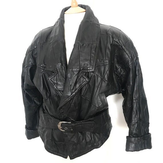 Vintage leather jacket,leather jacket,black jacket,bomber jacket, trashy, shoulder pads, UK 12,14,patchwork leather,80s leather,1980s,90s
