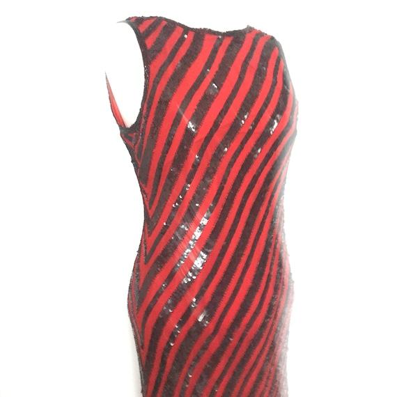 Art Deco dress,bias cut,striped,sequin dress,column,UK 12,10,1920s style,disco dress evening red carpet gown flapper Great Gatsby,backless
