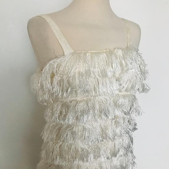 vintage dress,fringed dress,cream, fringe 1980s does 1920s,Great Gatsby,UK 8,Downton Abbey,party,1950s,shimmy,wiggle