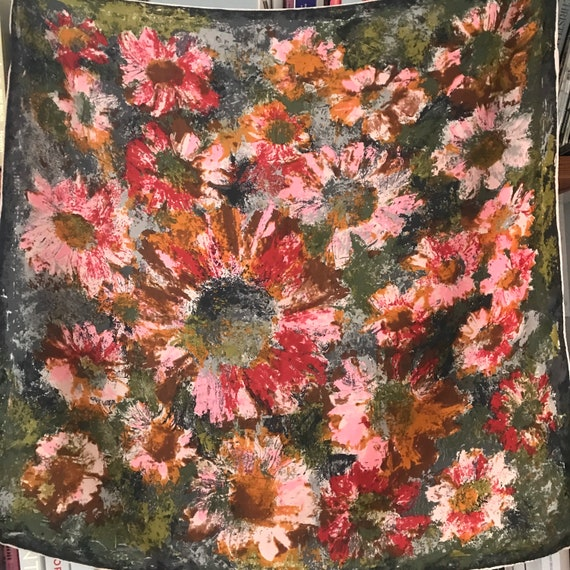 1960s scarf,vintage scarf,square,Knize,abstract,painterly,floral,silk scarf,1950s, 50s scarf, headscarf,pink,green,hand rolled,flowery,daisy