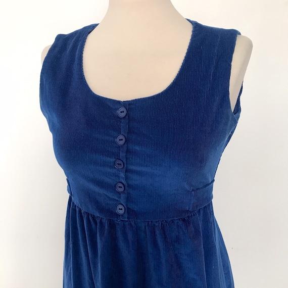 Vintage pinafore dress ,1970s electric blue maxi dress,vintage corduroy,UK 6,8, Mod,boho,hippie,cord,long lolita cosplay pinny dress