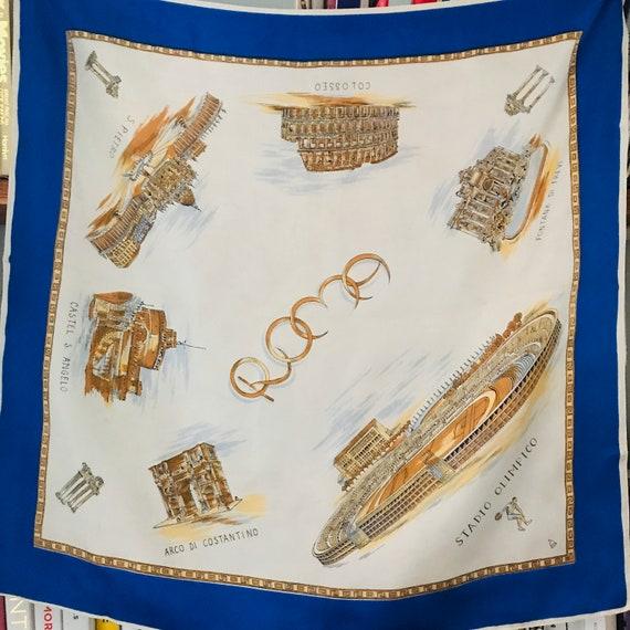 Vintage scarf, souvenir scarf,Rome,silk scarf,square scarf,landmarks,1960s scarf,50s scarf,Olympic stadium,Italy