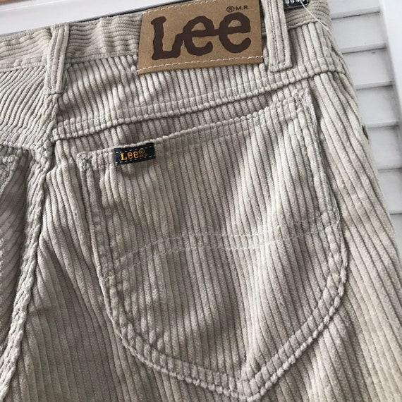 Vintage corduroy,1980s pants, straight leg, cord jeans,cream trousers,beige, high waisted,vintage Lee,70s pants, 31 waist 34 leg,long,NWT