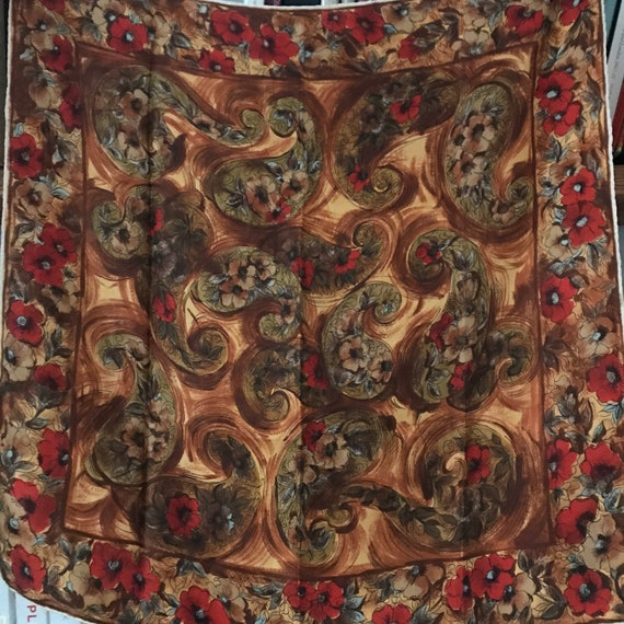 1960s scarf,vintage scarf, square, painterly,Paisley ,silk scarf,1950s, 50s scarf, headscarf,gold,green,hand rolled