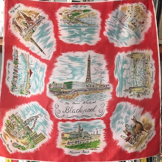 Vintage scarf, souvenir scarf,Blackpool,silky scarf,square scarf,landmarks,1940s scarf,40s scarf,1950s scarf,red,Blackpool Tower