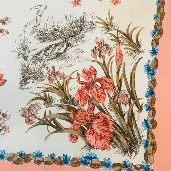 Vintage scarf,novelty print,orchid,boats,1930s,40s,rockabilly headscarf,neckerchief square,fun,vintage accessory,pink,synthetic,30s scarf