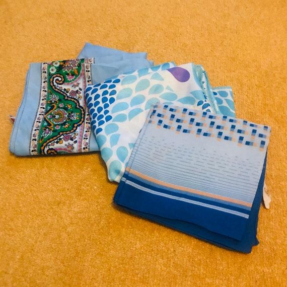 Vintage scarf,scarf lot, 3,Mod,blue,tear print,Paisley,white,blue,1960s,70s,scarves, nylon, polyester, vegan, accessory, gift, xmas,60s,GoGo