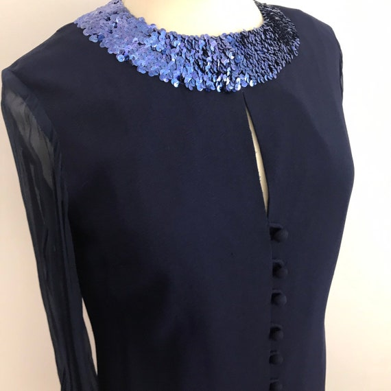1960s dress, sequin shift dress, navy blue dress, party, chiffon, sequined, GoGo, peekaboo, Mad Men UK 14, Quant style sparkly