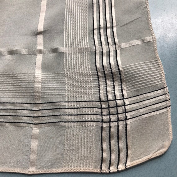 Vintage pocket square, handkerchief, cream silk, plaid, stripes, black stripe, small scarf, gentlemans scarf, gents accesory, menswear