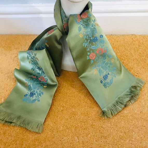 1940s scarf, satin, floral, sage green, flowery, neck tie, evening scarf, 40s, silky, fringed, 30s, Long scarf