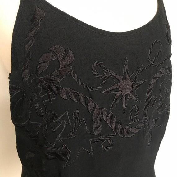 Vintage Escada,chiffon vest,navy camisole,nautical,embroidered, UK 10, 80s cami,vest top,blue vest,80s,nu wave,glam,designer,