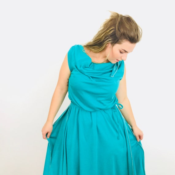 Vintage dress, grecian,turquoise green dress, 1970s, disco dress, jewel tone dress, Studio 54, boho, grecian goddess, festival,UK 10, jersey