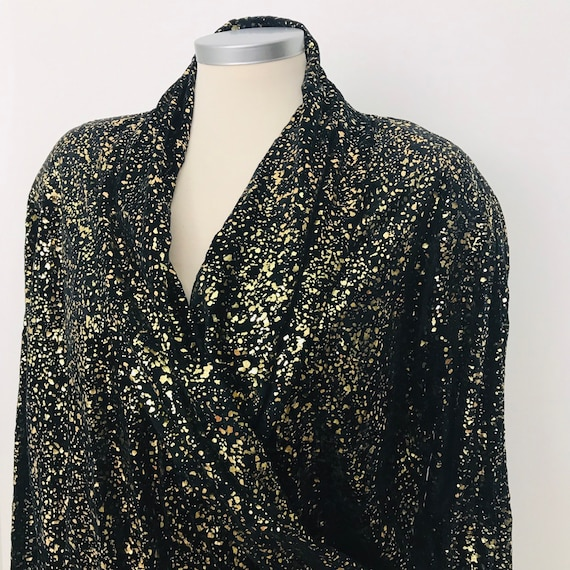 Velvet top, 1980s top, vintage blouse, evening, glam, gold, velour, trashy, blouson, bomber style, 80s, sporty shoulder pads, UK 14
