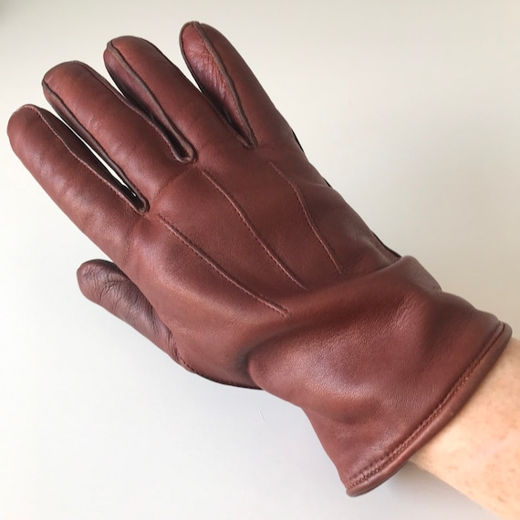 Vintage gloves chestmut leather short gloves wool lined size 8 L, brown leather gloves 1950s 40s Worcester made
