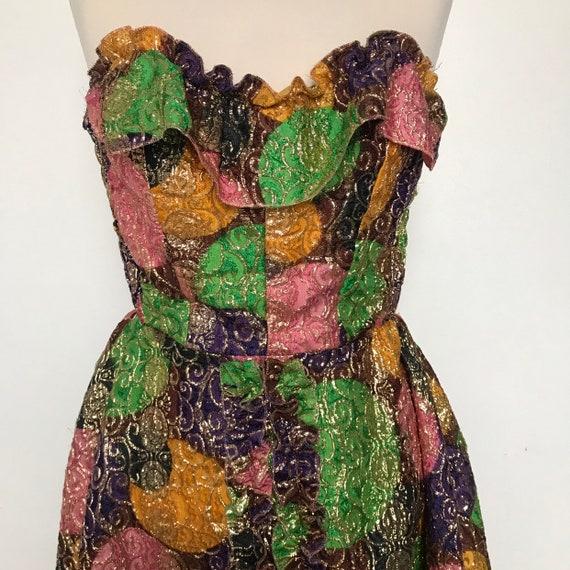 vintage dress,sparkly dress,1960s,frills,party dress,gold metallic,cocktail dress,UK 12 brocade,50s,cabaret,showgirl,bad girl,boned