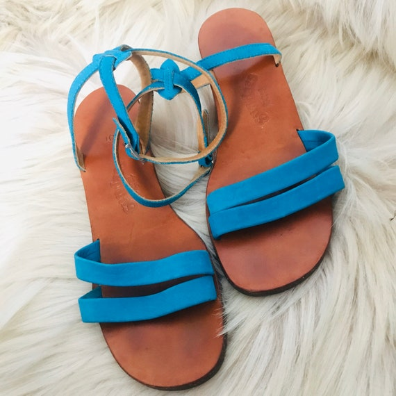 Vintage sandals,Turquoise sandals,strappy shoes,leather pumps,ankle strap,wedgies,wooden,peeptoe,Mom style,wedge,Grecian,suede,5,38,7