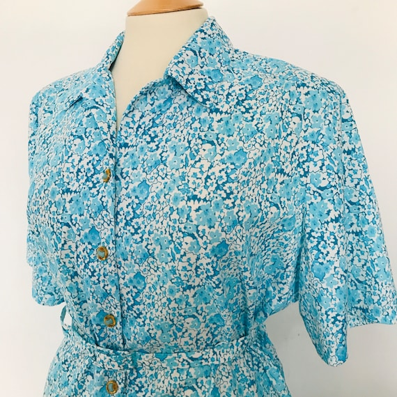 Vintage dress,ditsy print dress,shirt dress,polyester stretch, Lindy hop, swing dance, UK 20,22,tea dress,turquoise,plus size,volup