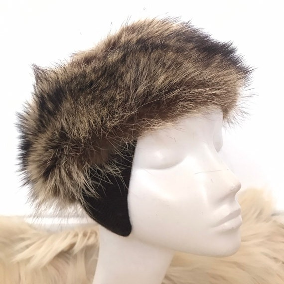 Vintage hat, fur hat,real fur,ear flaps,knitted ears,furry winter ski hat small medium,pill box