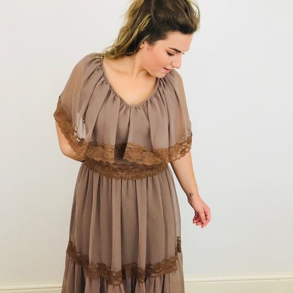 1970s dress, vintage lace, chiffon, gypsy dress, floaty, short sleeves, Flared skirt, tiered UK 12, 70s, boho, peasant, gypsy, hippy,