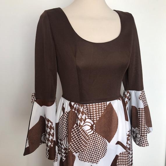 Maxi dress, vintage dress, flower power, brown dress, long, boho, hippie, UK 10 flared sleeves 1970s festival Abigails Party, polyester