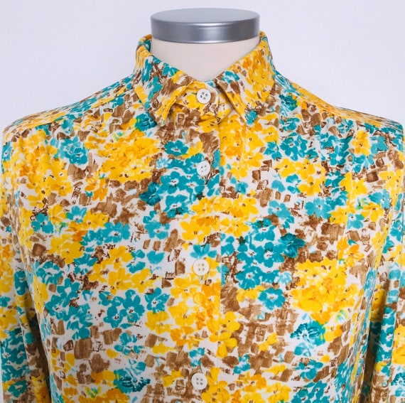 1970s blouse, vintage shirt, Mod blouse, yellow, jersey blouse, long sleeves, flower power, scooter girl,UK 8,10,long shirt,70s