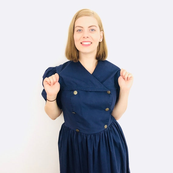 Vintage Laura Ashley, vintage sailor dress, navy Blue, Sailor collar, blue cotton, midi, UK 12, double breasted, brass buttons, 80s does 50s