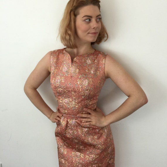 vintage dress 1960s long dress peach metallic cocktail frock UK 6 brocade evening gown prom Jackie O style Mod 1950s wedding bridesmaid