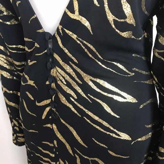 Vintage animal print dress,gold glitter,tiger stripe,cocktail dress,backless,button back,stretchy,disco,long sleeves,UK 12 14,sparkly,1980s,