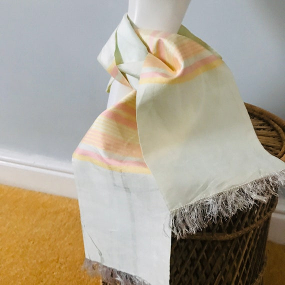 Vintage Silk scarf, long scarf, striped, pastel, 1940s,1930s,ladies long scarf, fringed