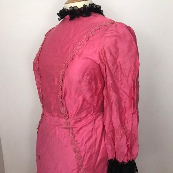 Vintage dress, 19th century style, pink faux silk, 1800s, historical, bustle, LARP, vintage theatre, UK 16, princess, cosplay, Lolita,kawaii