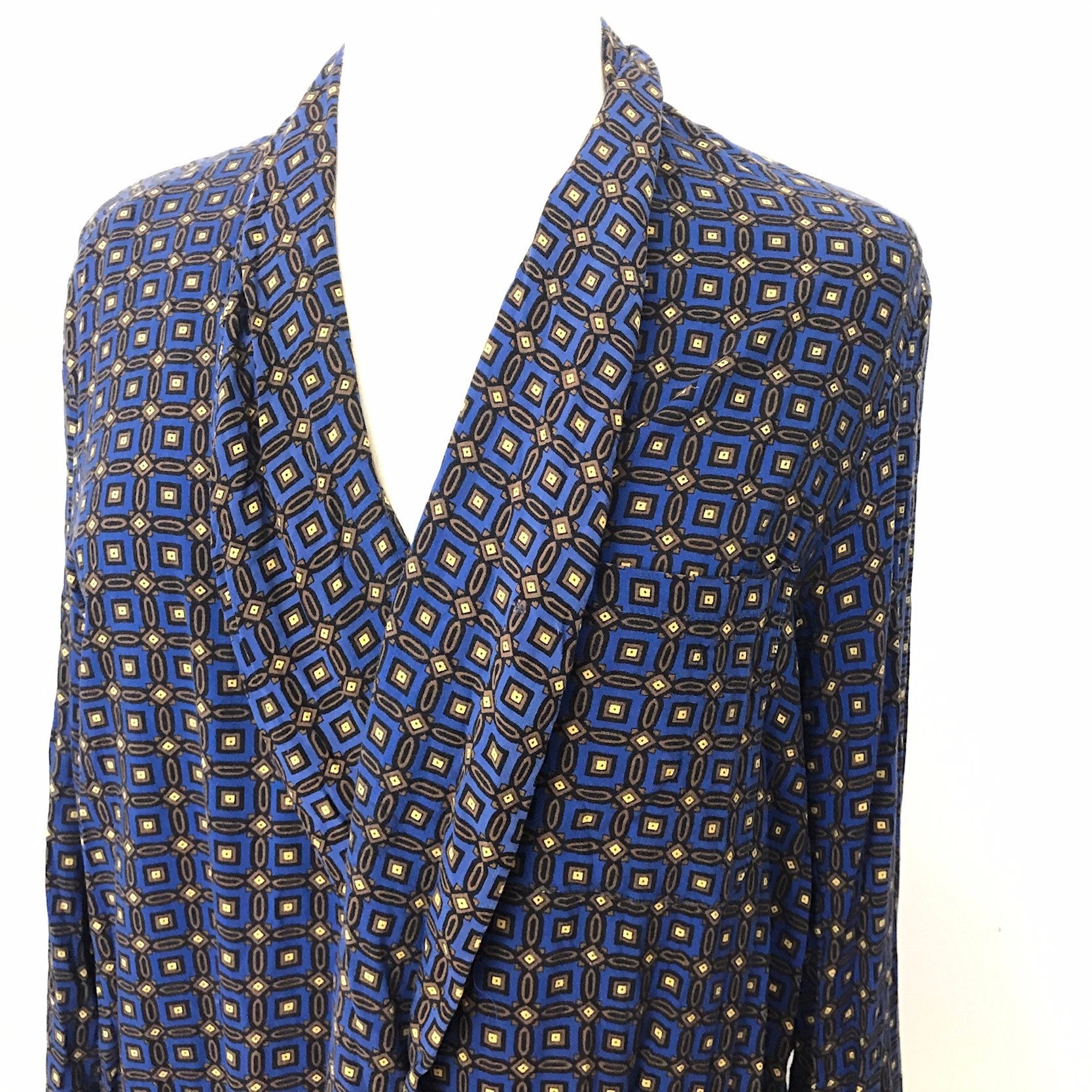 3881493a9 Vintage dressing gown paisley smoking jacket blue yellow, 1940s ...