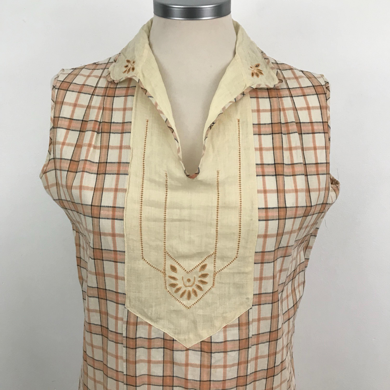 7c9867477046 1920s dress cotton plaid day dress drop waist leisure wear Art Deco ...