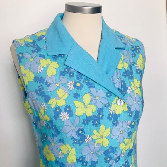 Vintage dress,shirt dress,1970s,flower power,linen,70s,Mod,sundress,blue,lime green,floral,sleeveless,pyjama collar,UK 10,