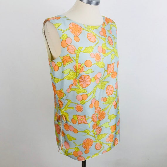 60s top, vintage blouse, 1960s shirt, shell top, silky, flowery, bows, sleeveless tank Mod scooter girl, Mod, GoGo, UK 12,