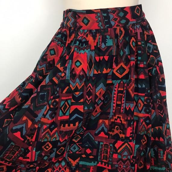 Vintage skirt, 1980s skirt, cotton, aztec print, Midi Skirt, Indian cotton, mom skirt UK 10, S, summer, pockets, 80s, adini,