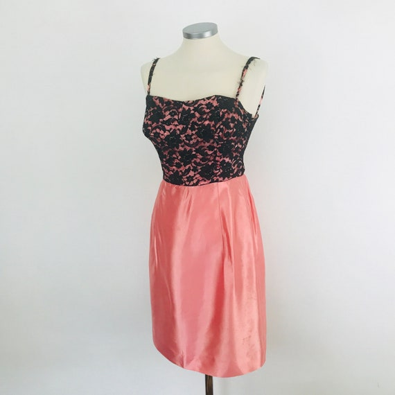 Vintage dress, 50s dress, bad girl, wiggle, 1950s, pink satin, black lace,trashed, costume party, 50s dress, UK 4 6 petite, circus, festival