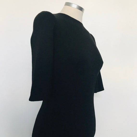 1960s dress,late 50s dress,vintage wool dRESS,black,UK 8,wiggle,knitted dress pin up,beatnik,Mod,goth,petite,